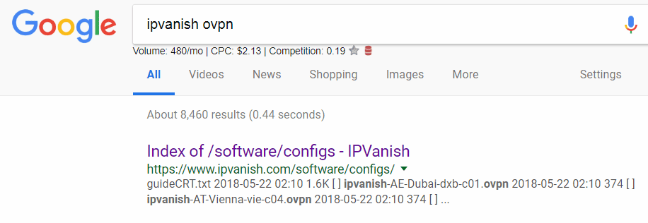 Use google to locate VPN configs