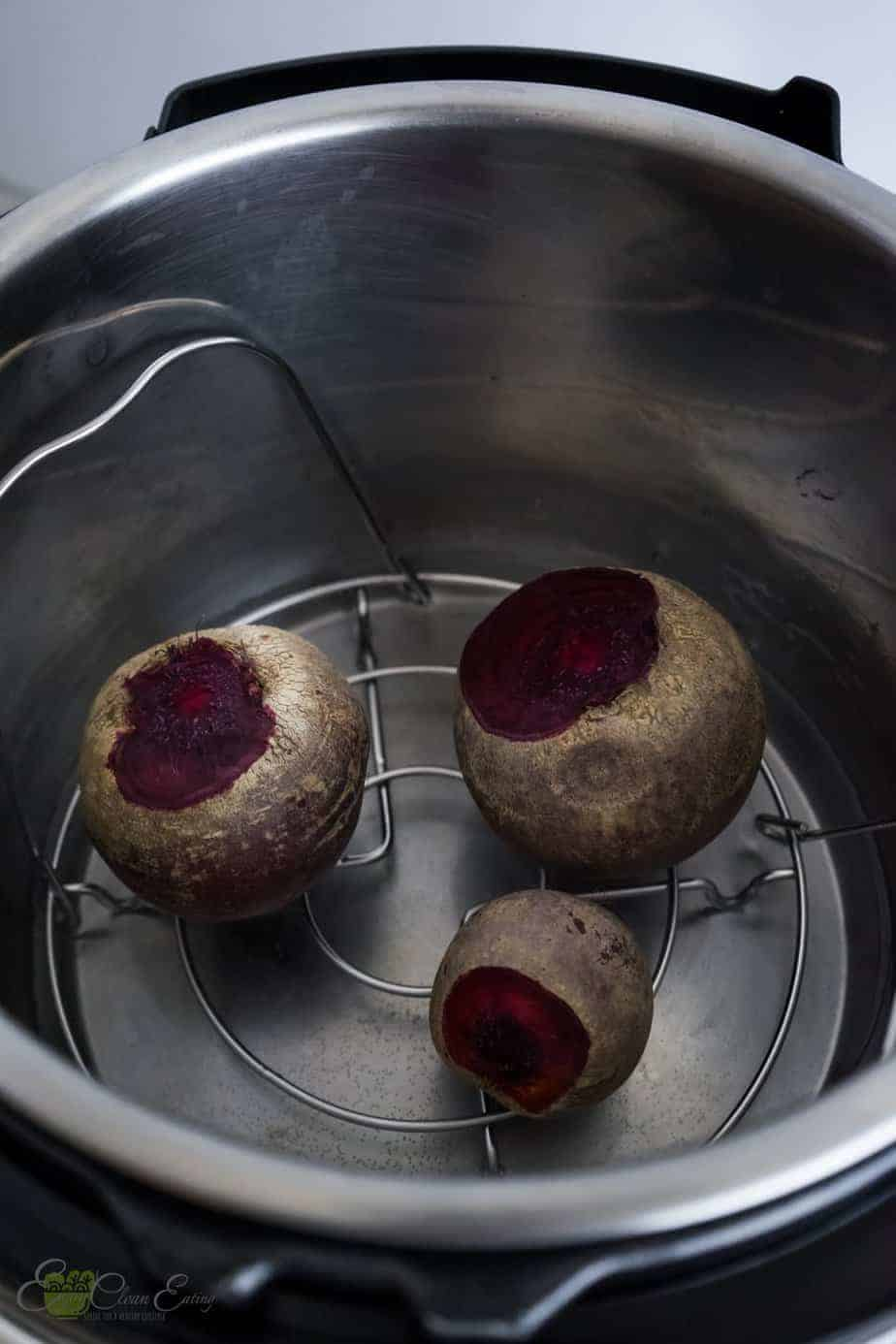beets before steaming inside the pot