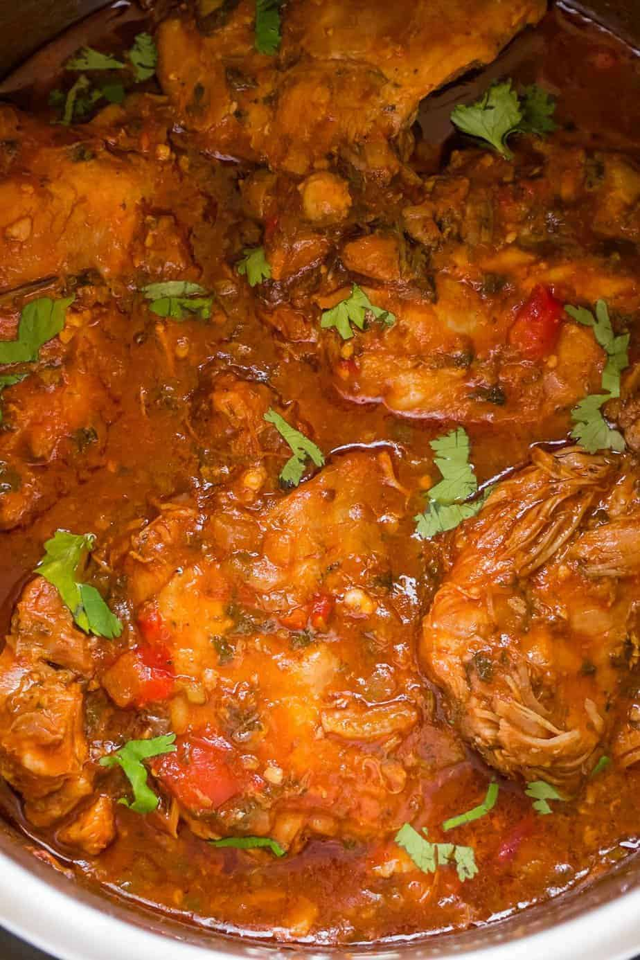 instant pot turkey thighs stew sprinkle with fresh cilantro