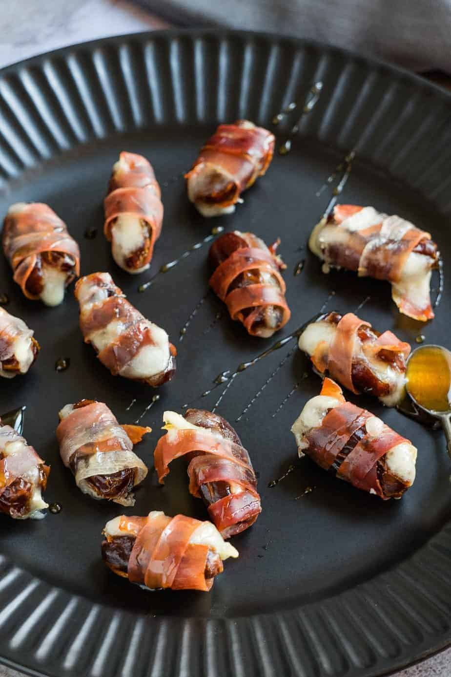 Prosciutto wrapped dates with drizzle of honey
