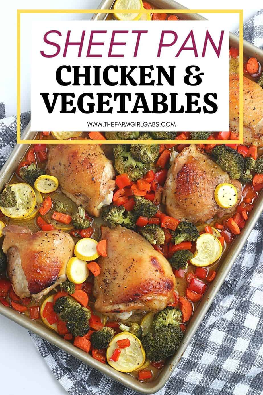 Want to make a delicious mess-free meal that is good for you? Try this health Sheet Pan Chicken and Vegetables Dinner consisting of chicken thighs, broccoli, carrots, and more! You will love this easy weeknight meal idea.
