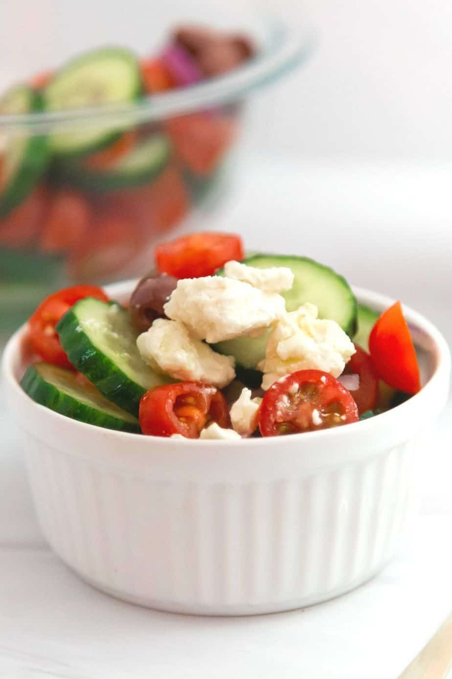 If you'd like a light and refreshing side dish, try this Greek Salad. It consists of healthy ingredients that are good for you, including cucumbers and red onions. This is an easy salad recipe to serve as a simple side dish, potluck recipe or at a summer picnic.