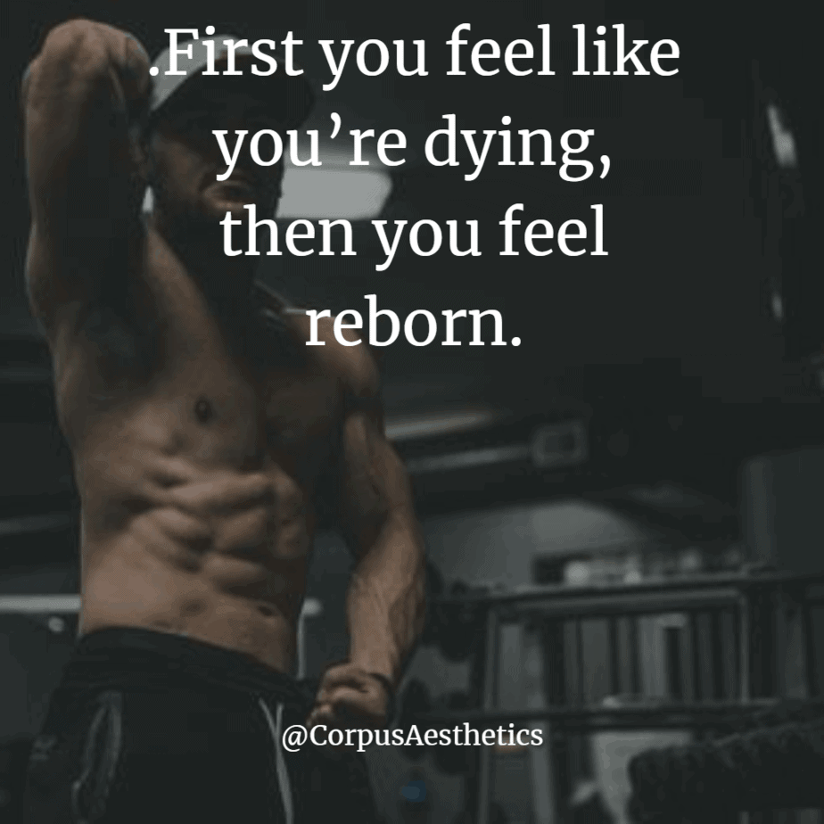 gymspiration quotes; first you feel like you're dying, then you feel reborn, a bodybuilder in the gym