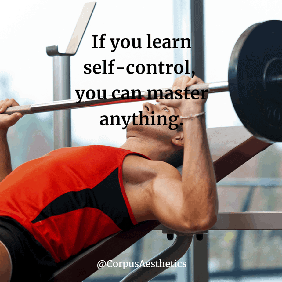 weight lifting motivational quotes, If you learn self-control, you can master anything, a guy has a training with weights