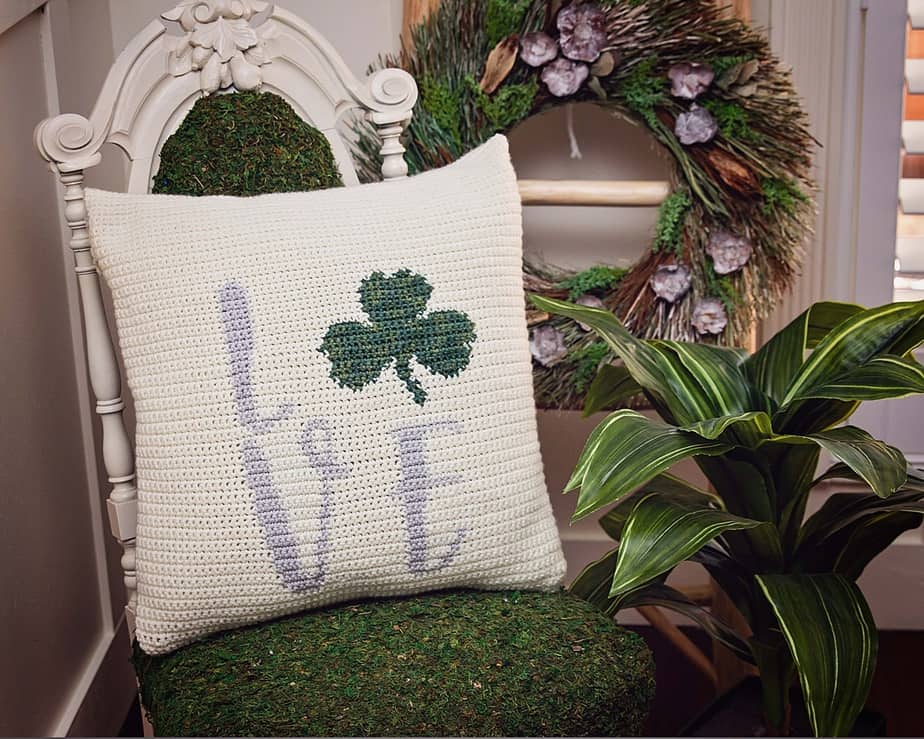 Love Shamrock Crochet Pillow Pattern