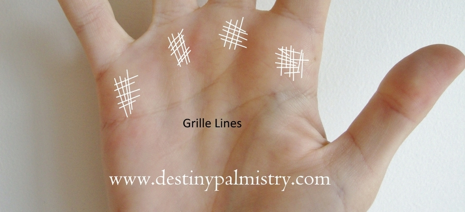 grill lines, grille marks on the palm, grille meaning in palmistry, grille lines meaning