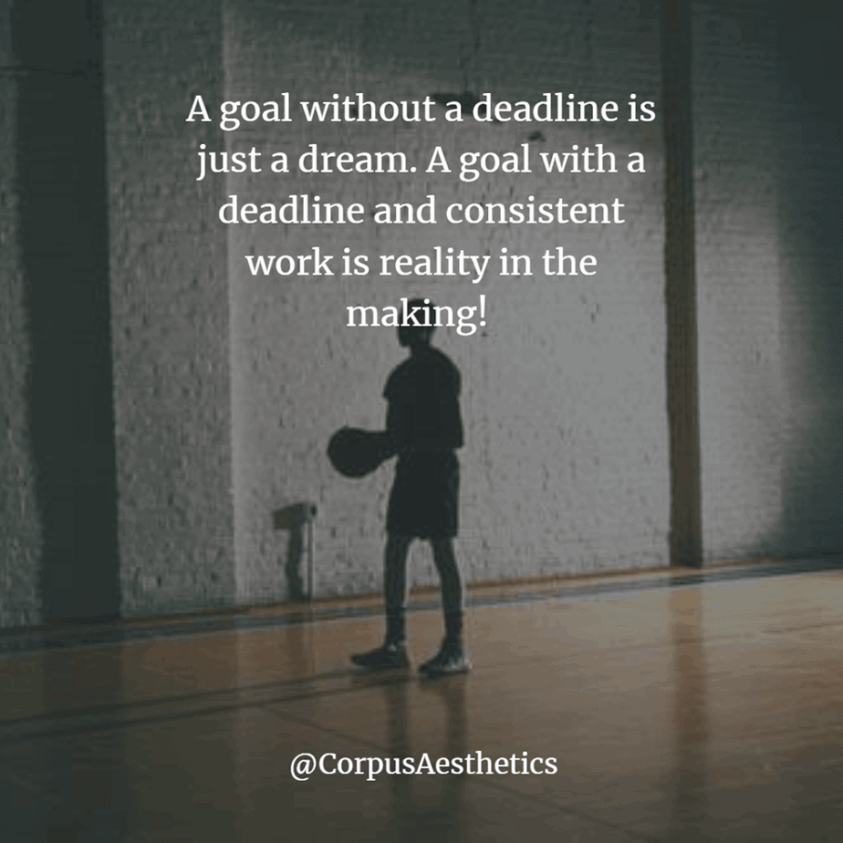 training inspirational quotes. A goal without a deadline is just a dream, a boy is preparing for playing basketball