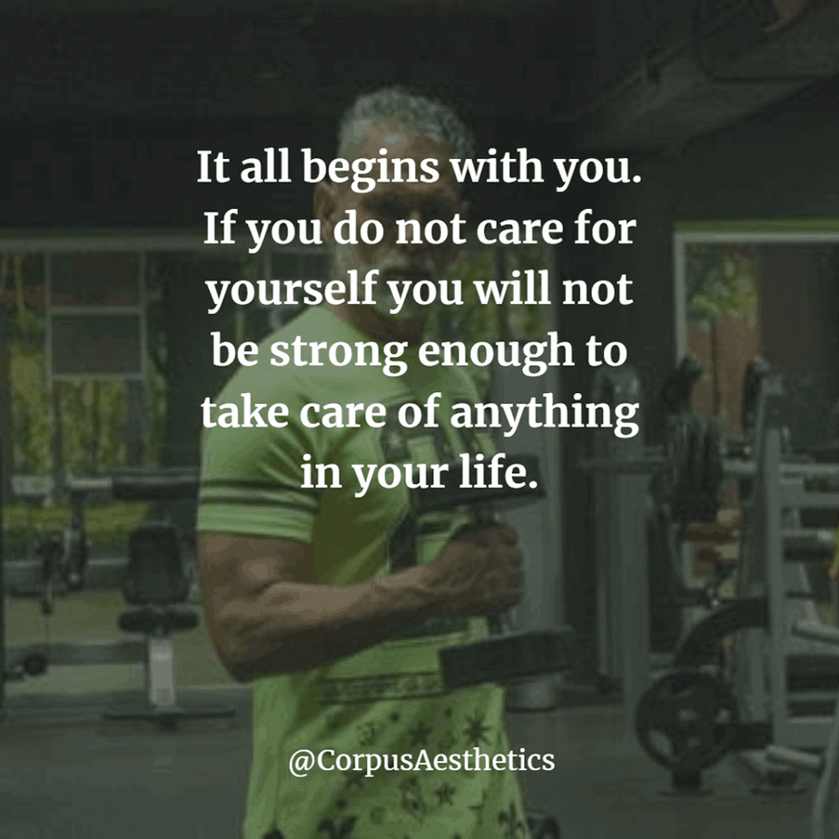 gym shark inspirational quotes, If you do not care for yourself you will not be strong enough, a guy is having a training
