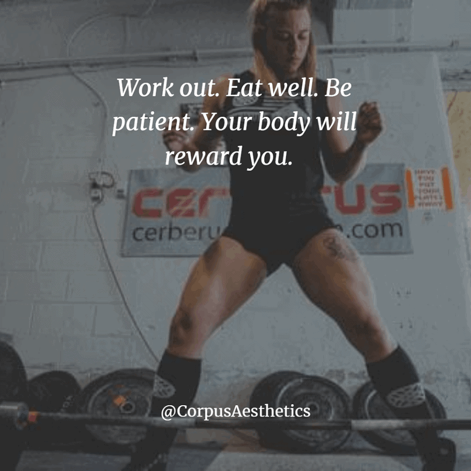gym motivational quotes, Work out. Eat well. Be patient. Your body will reward you. a girl training with weights in the gym