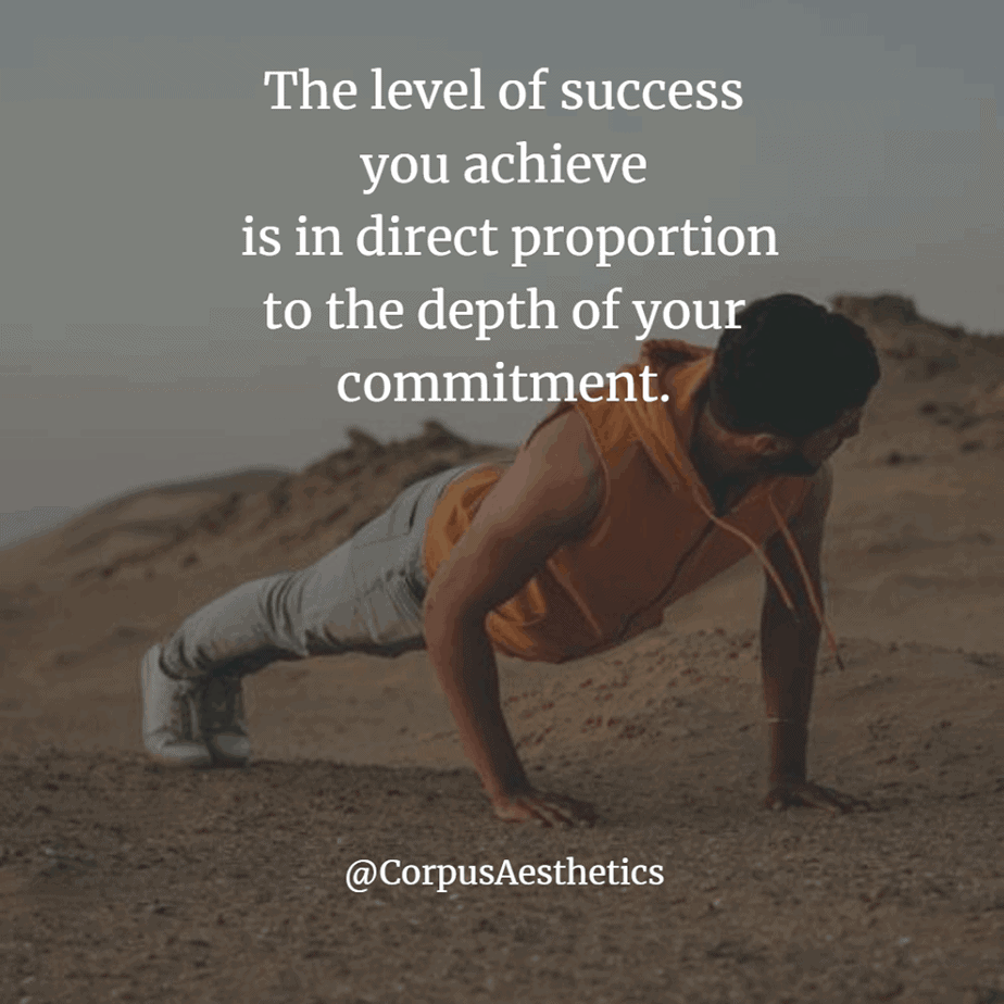 daily motivational quotes level of success depth of your commitment, a man doing push ups outdoors