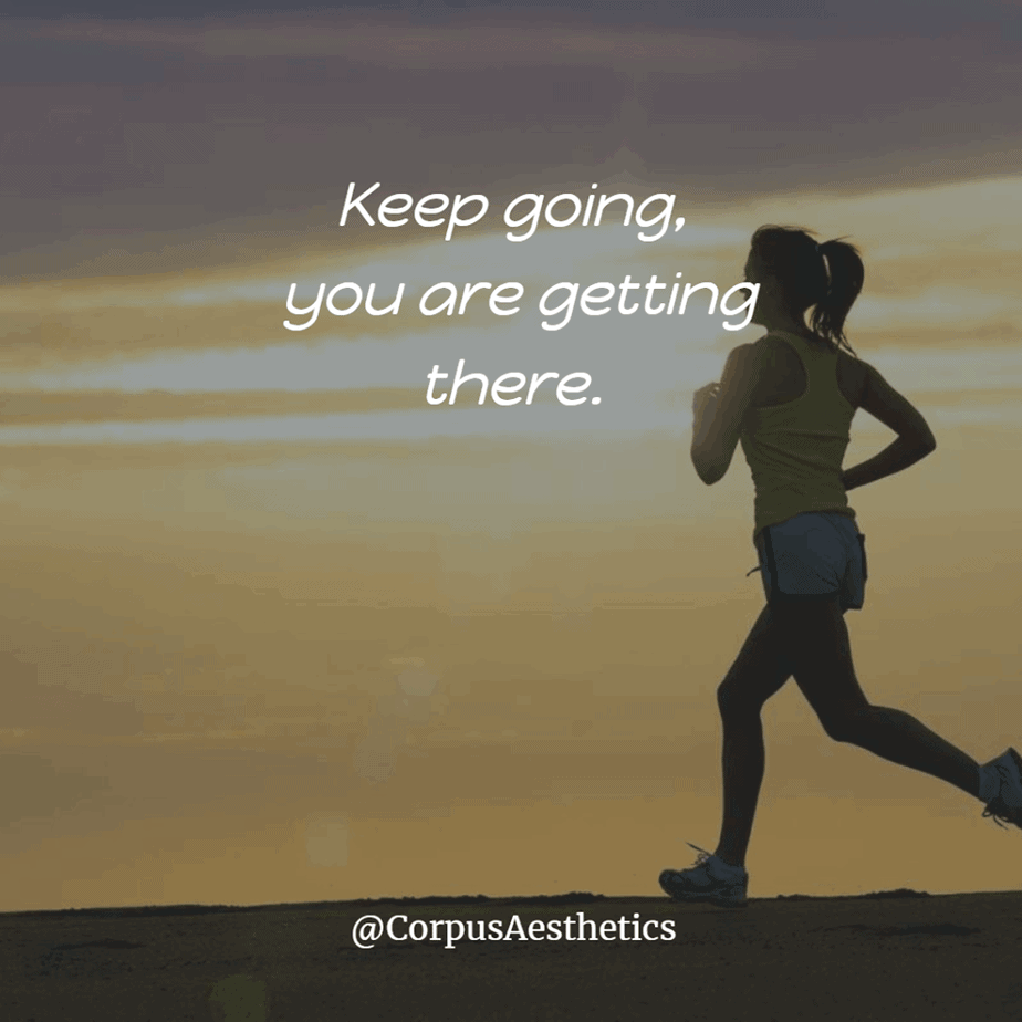 running inspirational quotes, Keep going, you are getting there, a girl has a training with running outside