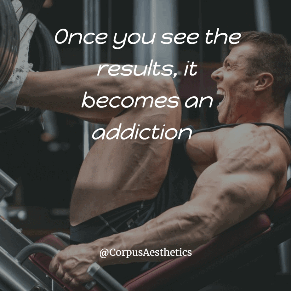 strength training motivational quotes, Once you see the results, it becomes an addiction, a guy has a leg day in the gym