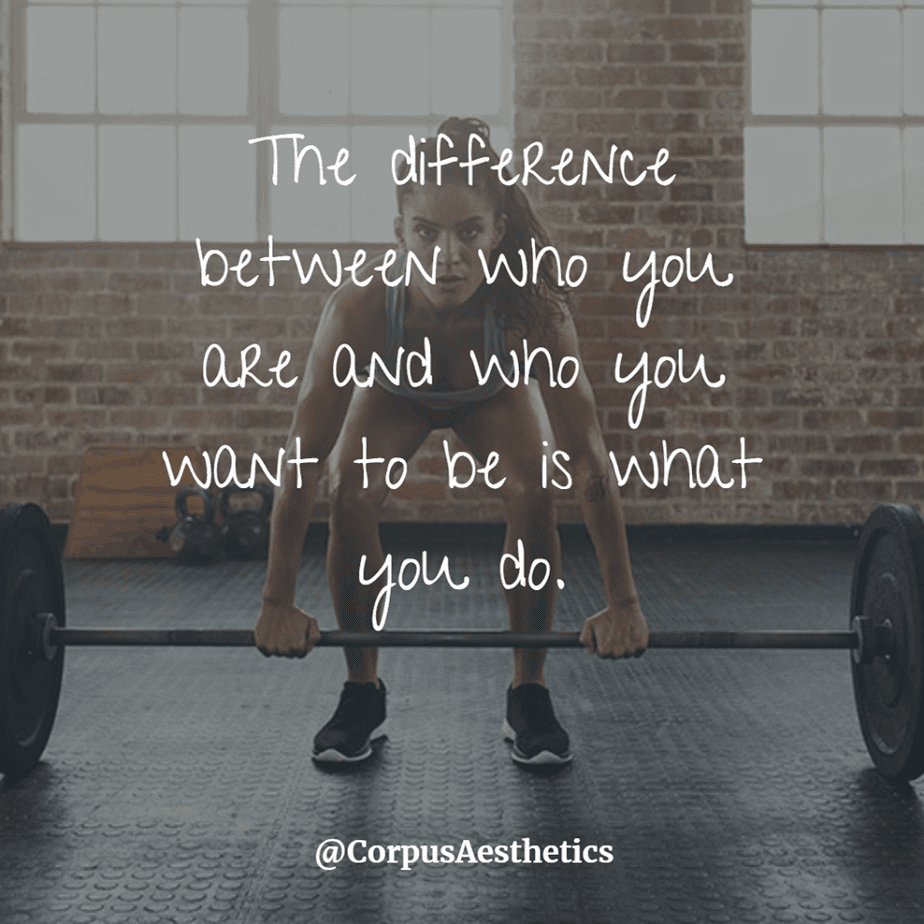 fitspirational quotes,The difference between who you are and who you want to be is what you do,a girl lifts weights