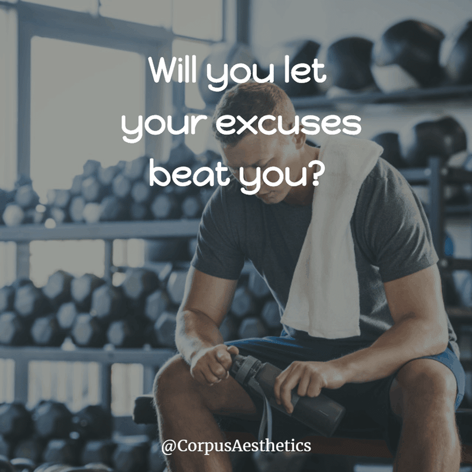 gym motivational quotes, Will you let your excuses beat you, a guy has a break after training at the gym