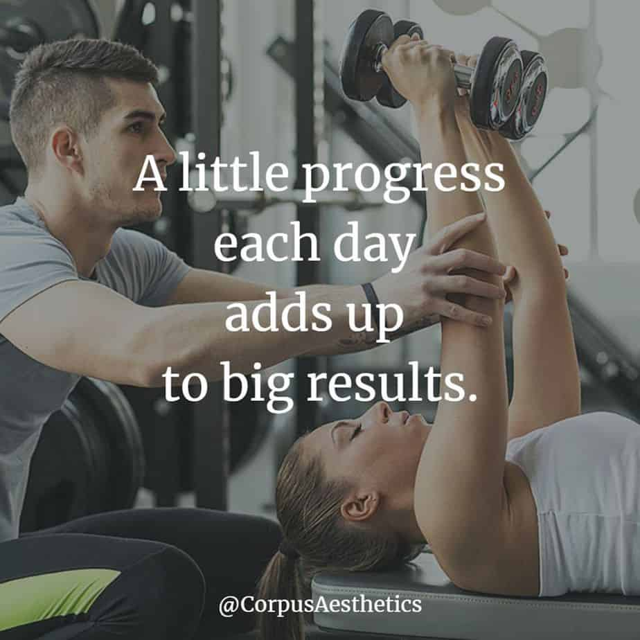 fitness motivational quotes, A little progress each day adds up to big results, a girl has a workout with trainer at the gym