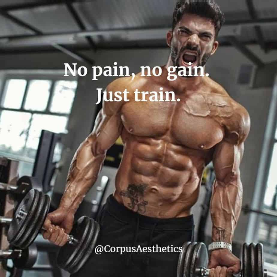 strength training motivational quotes, No pain, no gain. Just train, a muscle guy has a hard training with weights at the gym