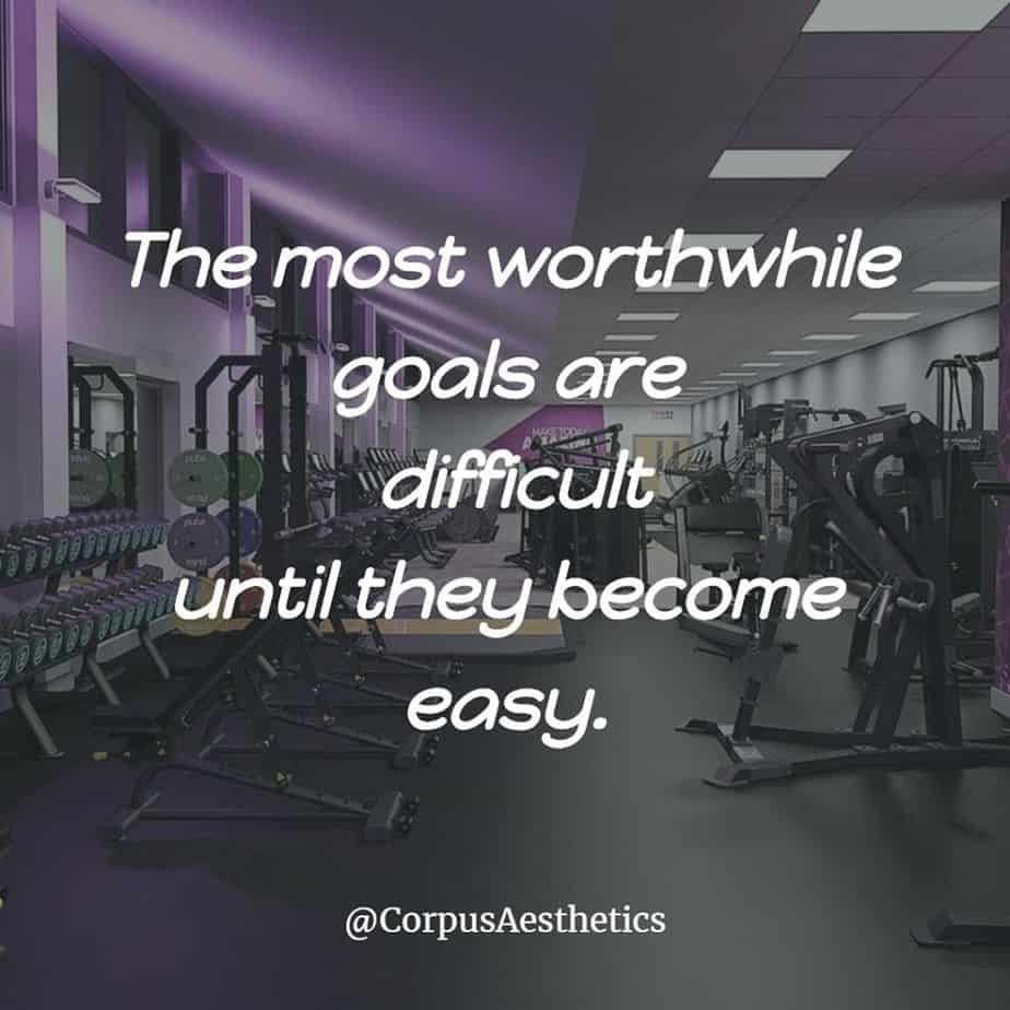 gym inspirational quotes, The most worthwhile goals are difficult until they become easy, there is a different gadgets