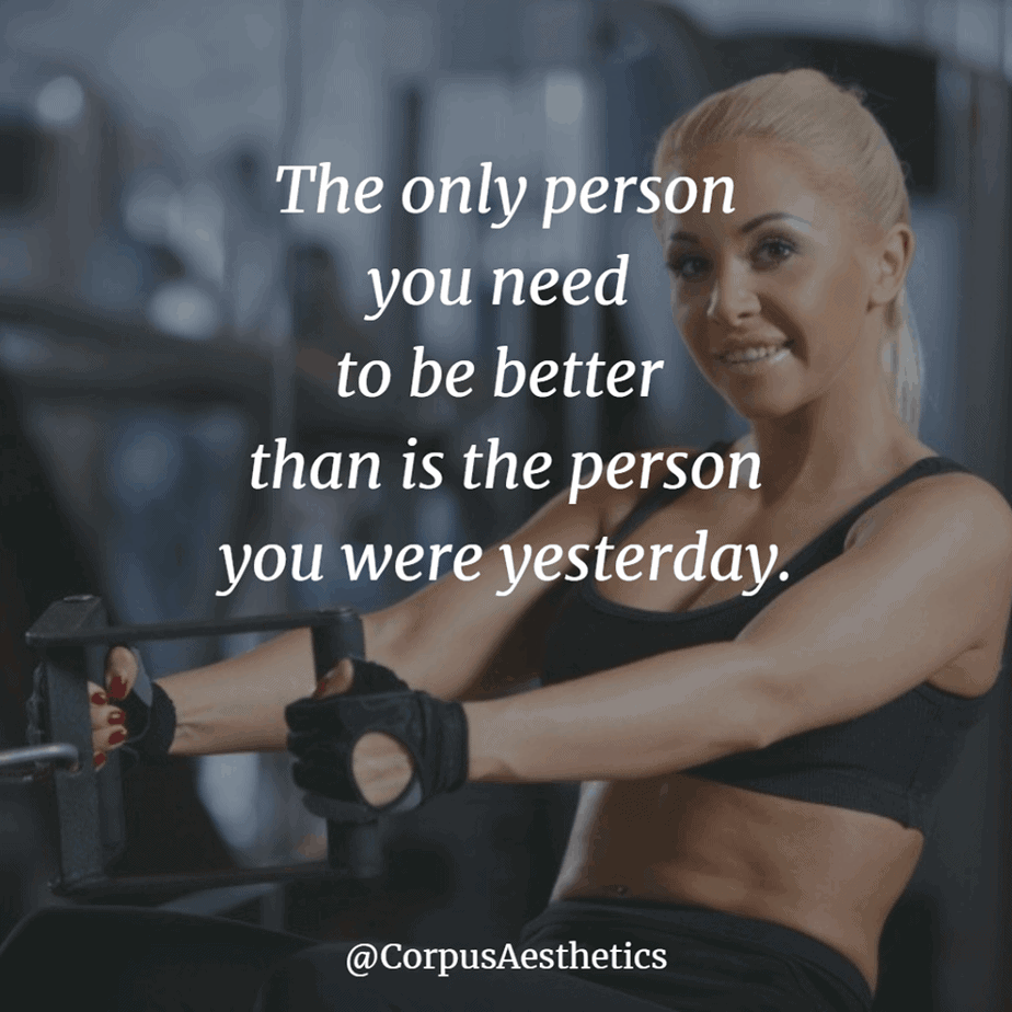fitness inspirational quotes, The only person you need to be better than is you , a girl has a training at the gym