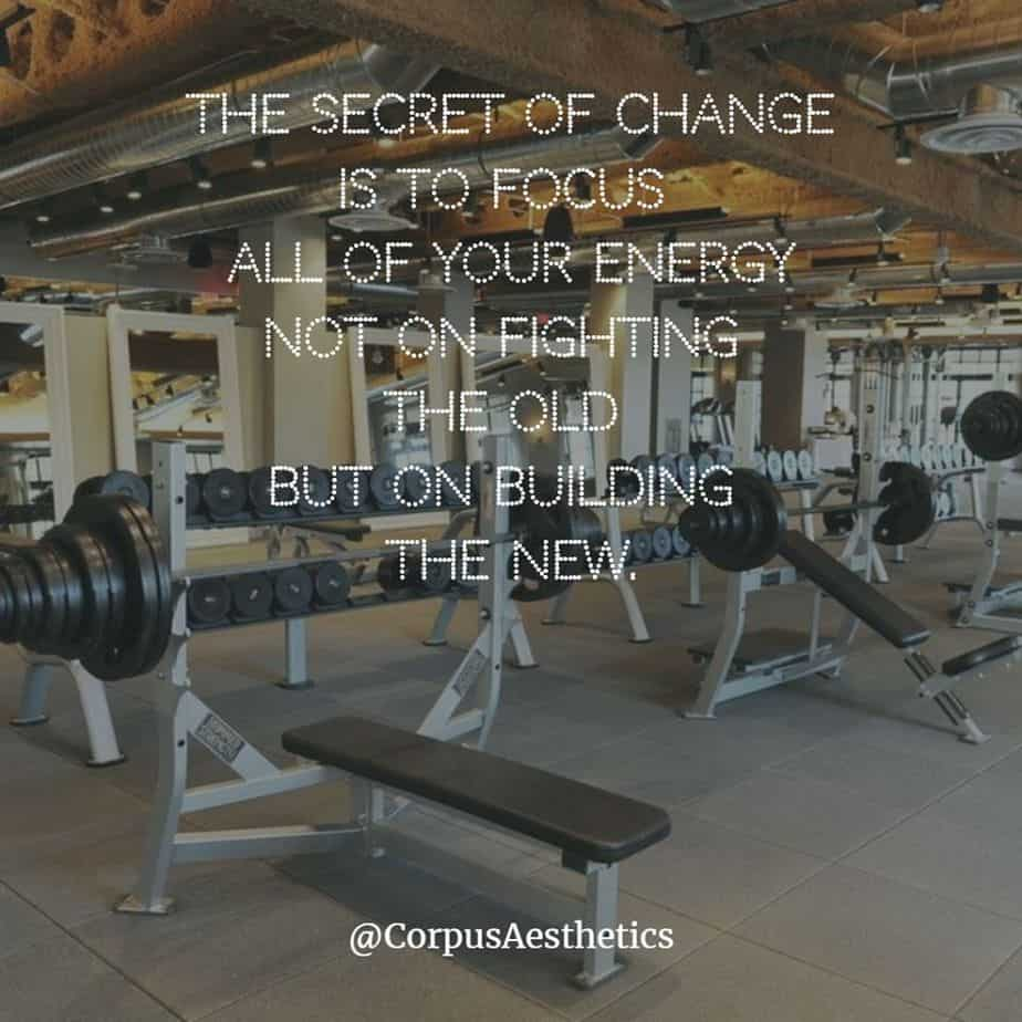 gym motivational quotes, The secret of change is to focus all of your energy, there is different gadgets in the gym