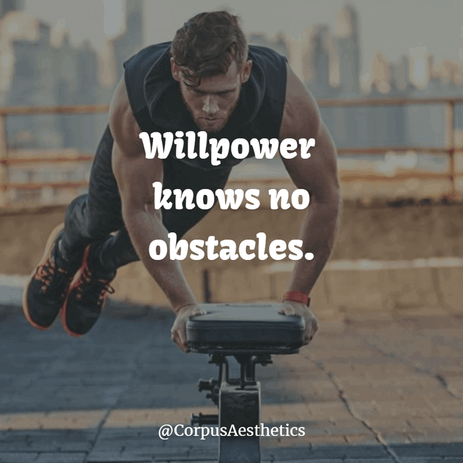workout motivational quote, Willpower knows no obstacles, a guy has a street workout on the roof of the building