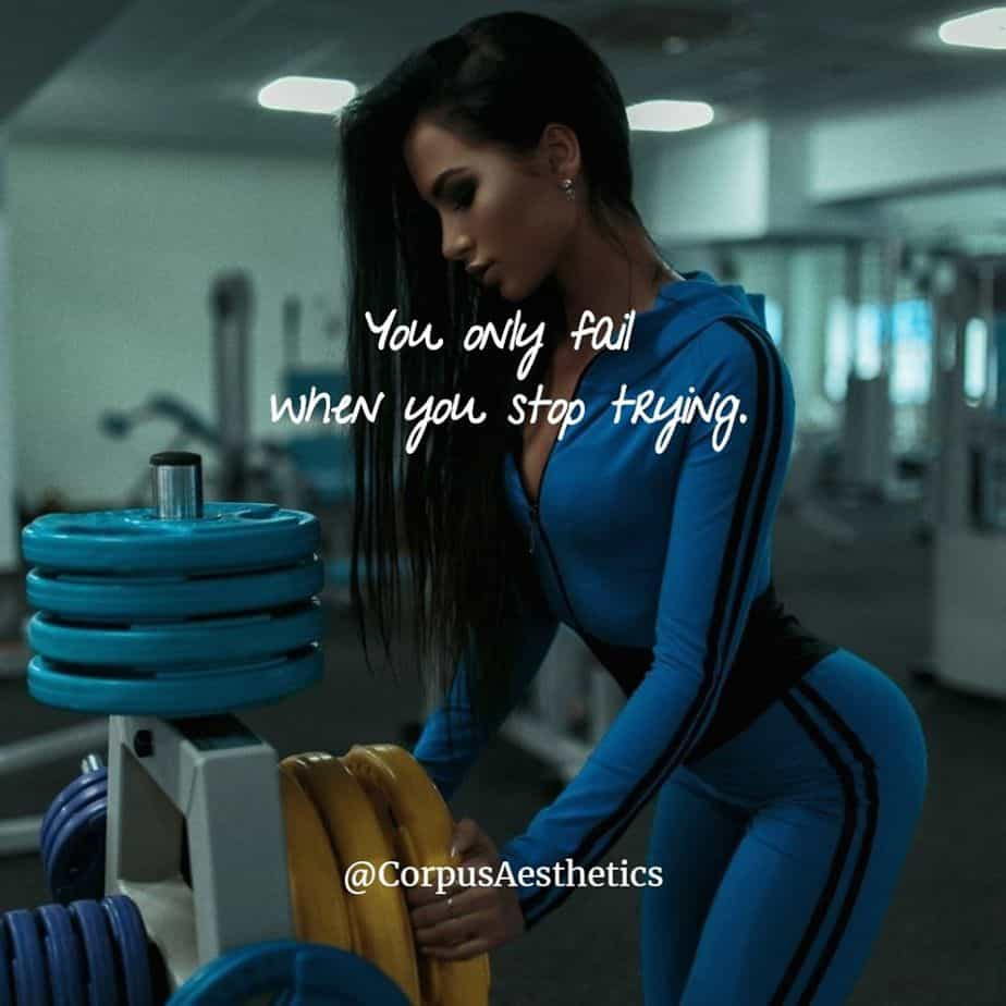 fitness motivational quotes, You only fail when you stop trying, i girl has a training with weights at the gym