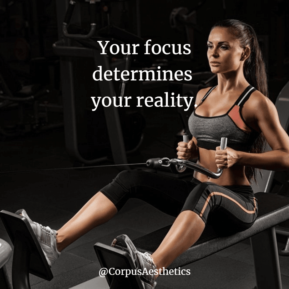 fitness motivational quotes, Your focus determines your reality, a fit girl has a training with pulling weights