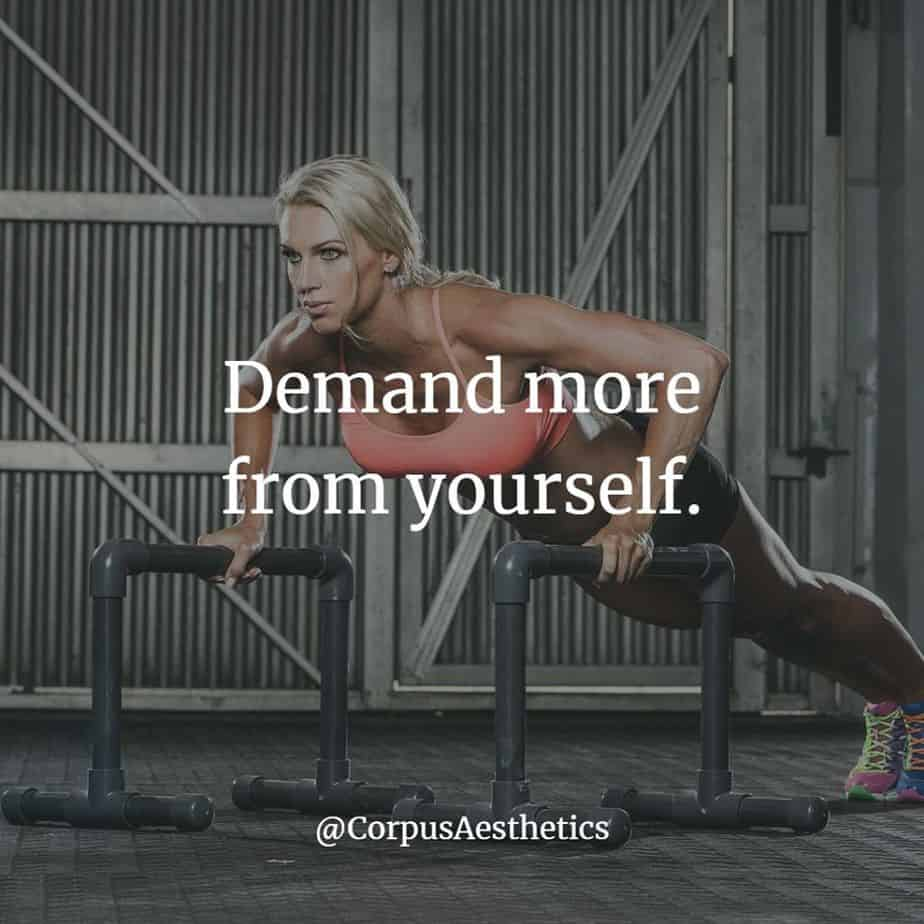 fitness inspirational quotes, Demand more from yourself, a girl has a push up training at the gym
