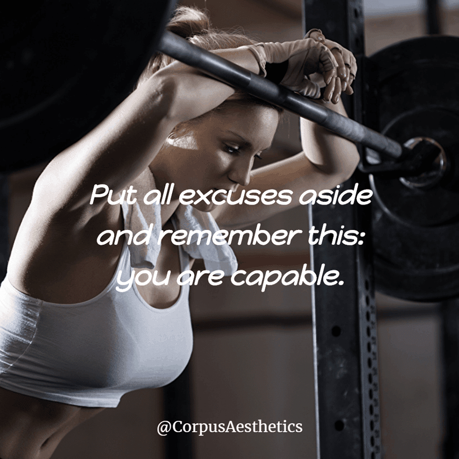 fitness motivational quotes, Put all excuses aside, a girl has a brake at the gym after weightlifting training