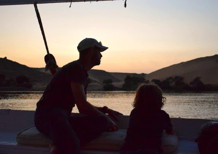 Sunset sailing on the Nile Aswan Egypt