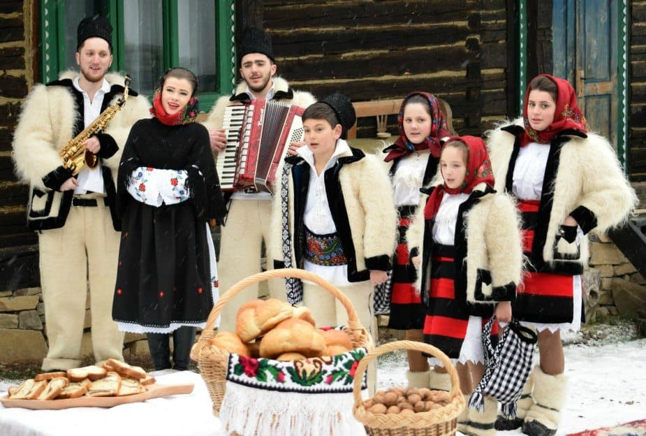 Traditional winter outfits snow Breb Maramures Romania