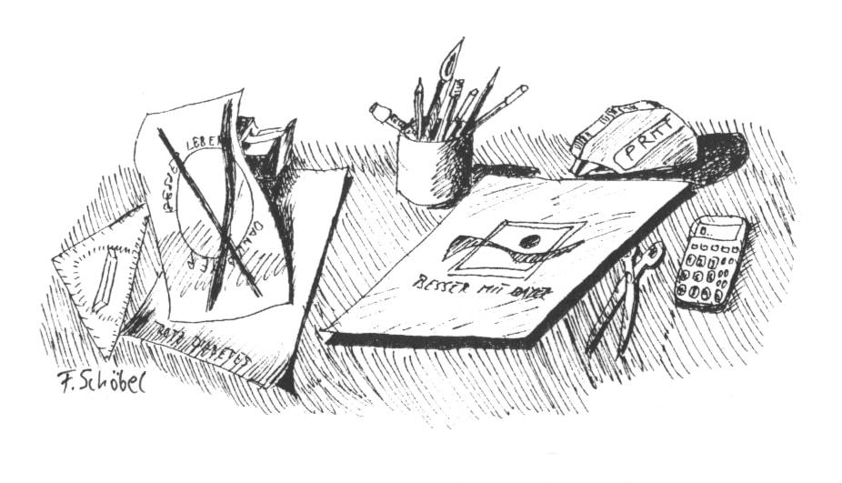 Illustration auf dem Schreibtisch