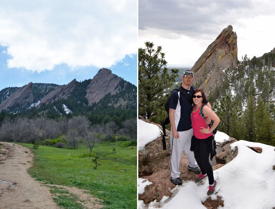 The Boulder Flatirons and Brooke and Buddy posing with the flatiron in the background