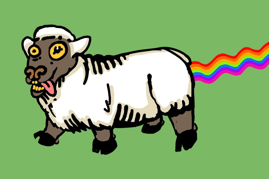 Illustration of a sheep pooping rainbows