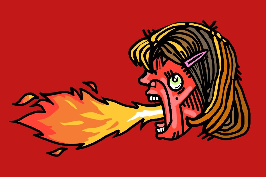 Illustration of a woman breathing fire