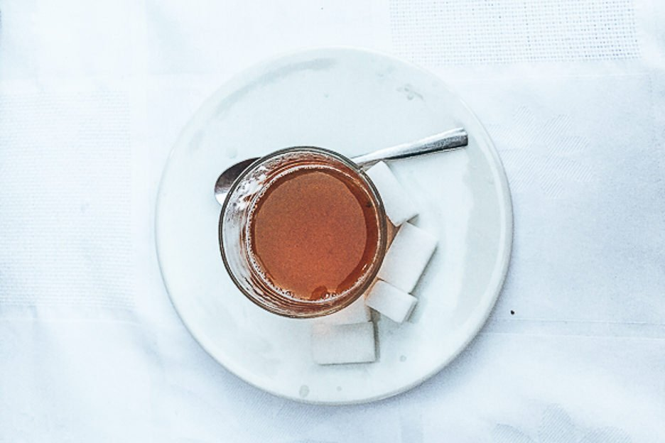 A cup of mint tea and extra sugar cubes, Morocco