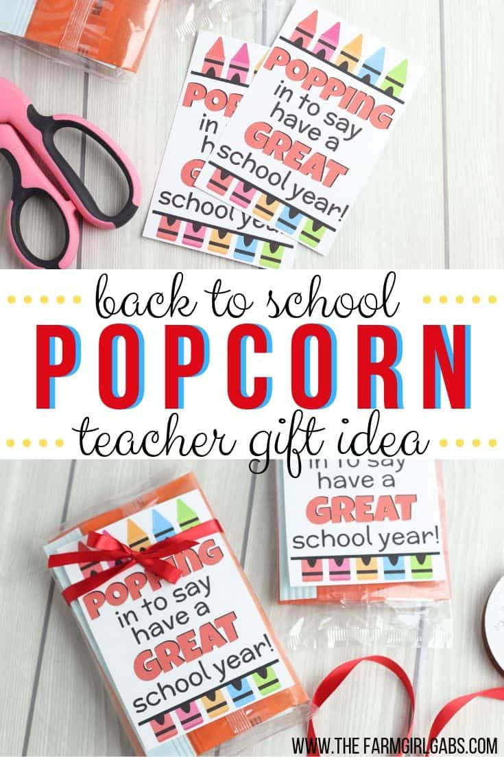 This Just Poppin In To Say Have A Great School year is a fun Back To School Teacher Gift. Start the school year off with this fun teacher gift idea. #backtoschool #teachergift #printable