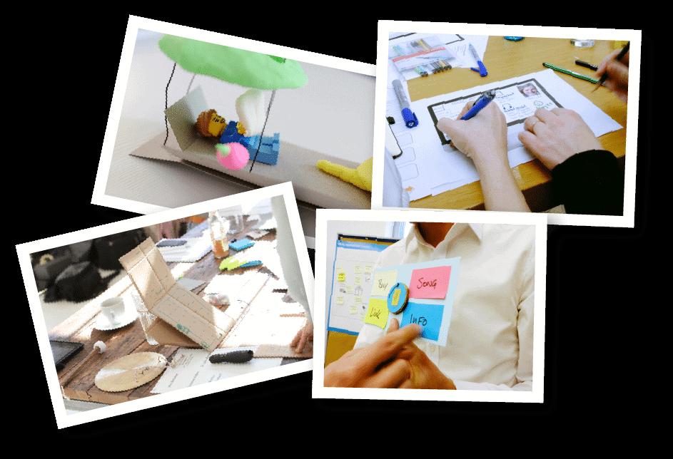 Verschiedene DIY Prototypen mit dem Design Thinking Prozess entwickelt.