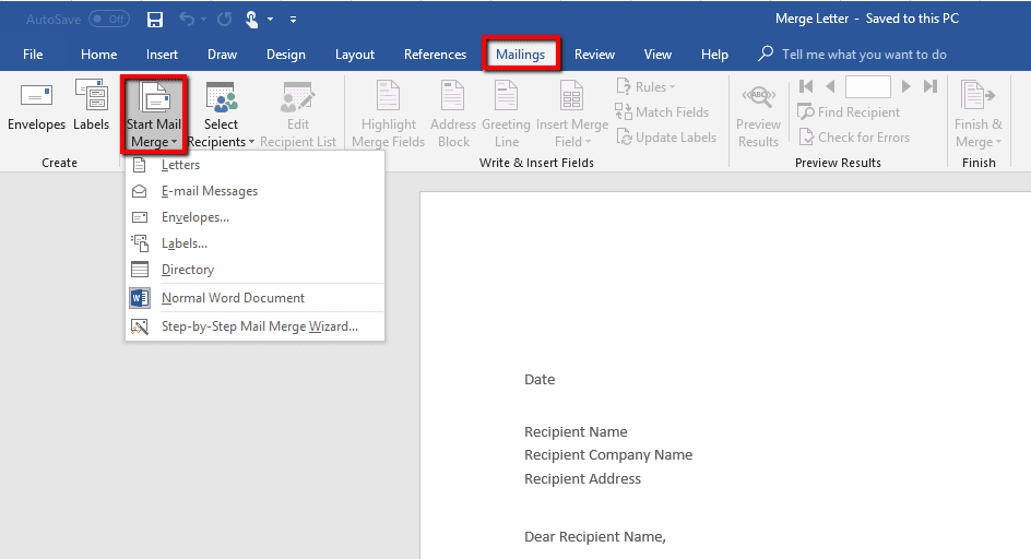 How To Perform A Mail Merge In Word Using An Excel Spreadsheet