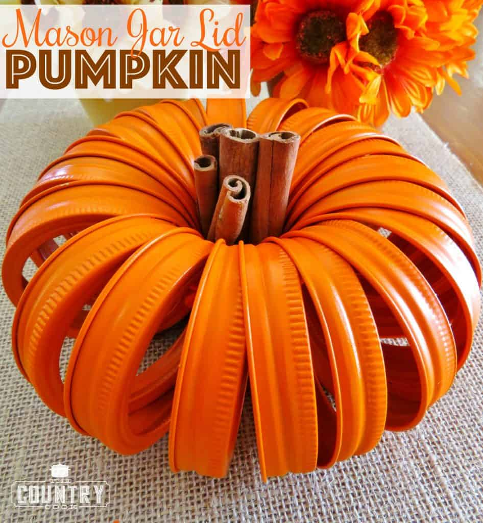 Mason Jar Lid Pumpkin craft from The Country Cook