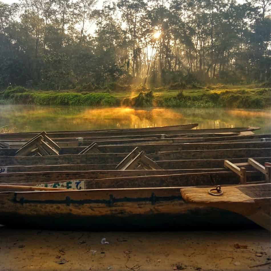 Early Morning Canoe Safari. Chitwan National Park Nepal
