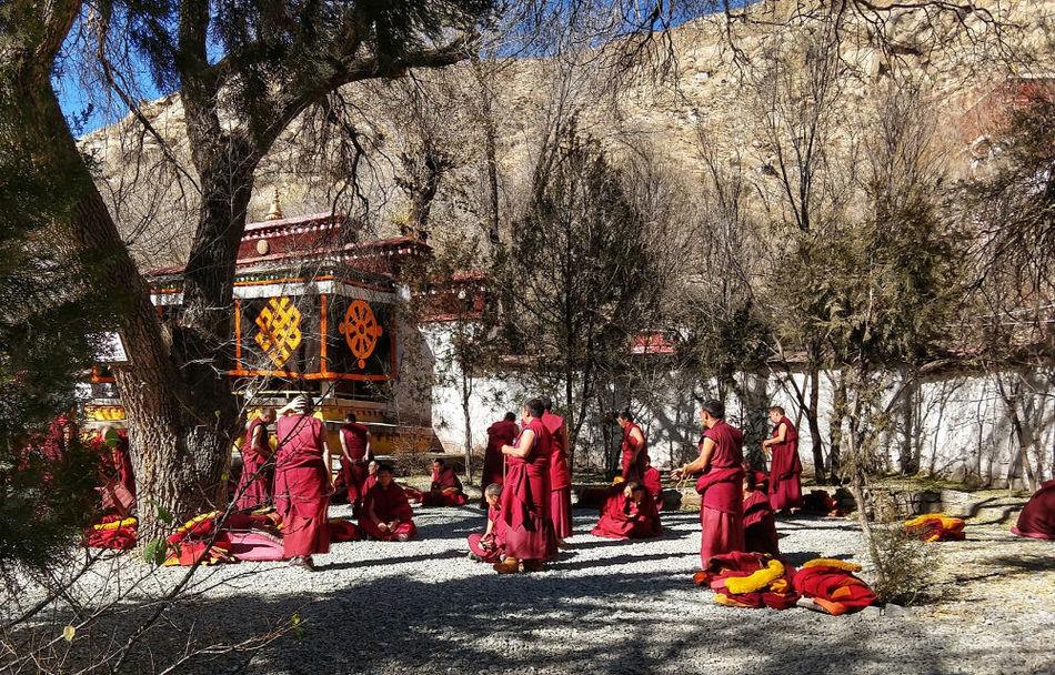 Senior monks debating at Sera Monastery Tibet