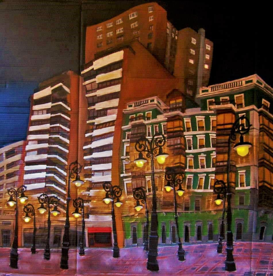 Xixón, Paseu Begoña. Cartón, plástico, luces, cola, alambre, pigmentos metálicos y óleo sobre tabla, 1 x 1m. 2013.