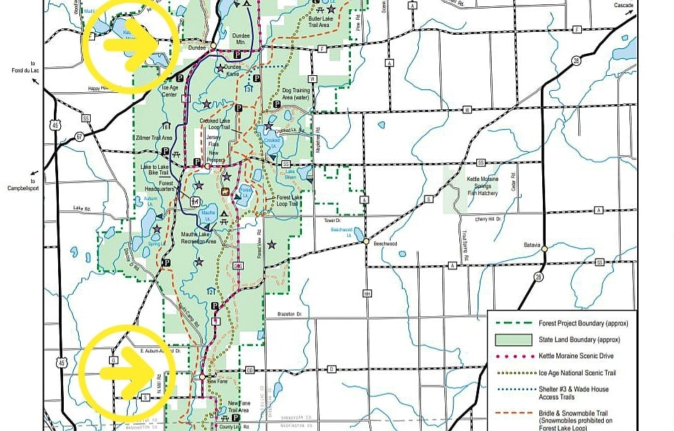 Map of Kettle Moraine State Forest with arrows indicating the start and stop points of today's walking pilgrimage