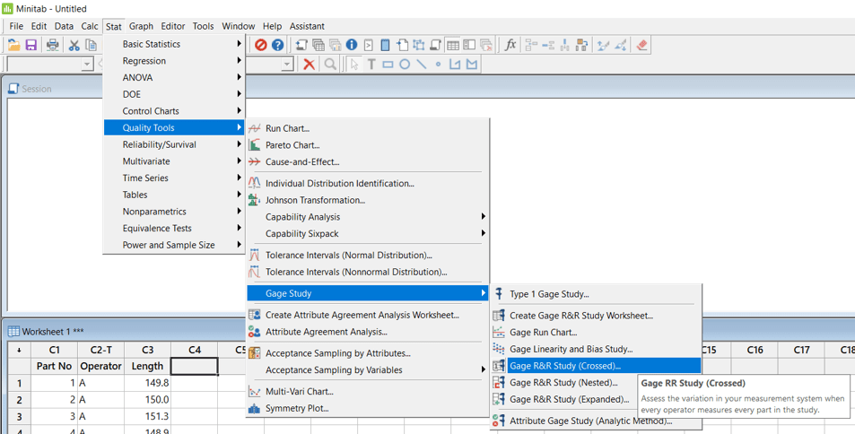 LSSSimplified - Continuous Gage R&R MiniTab Test Path