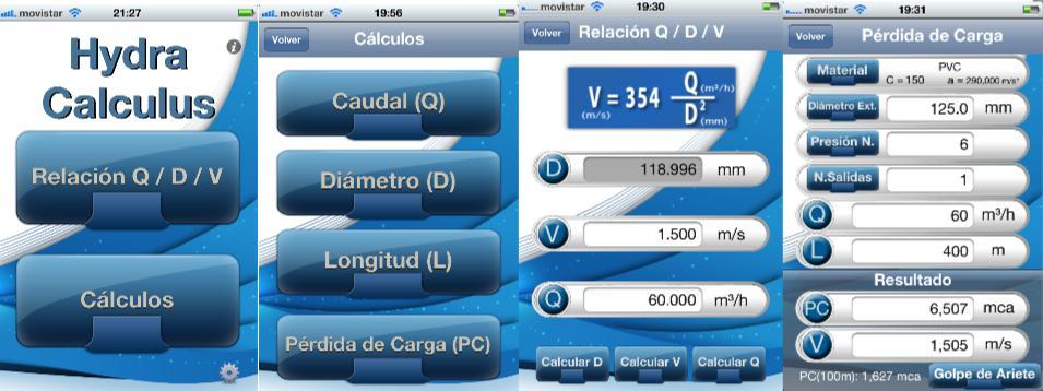 pantallazos del software hydra calculus