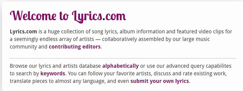 pantalla principal de lyrics.com