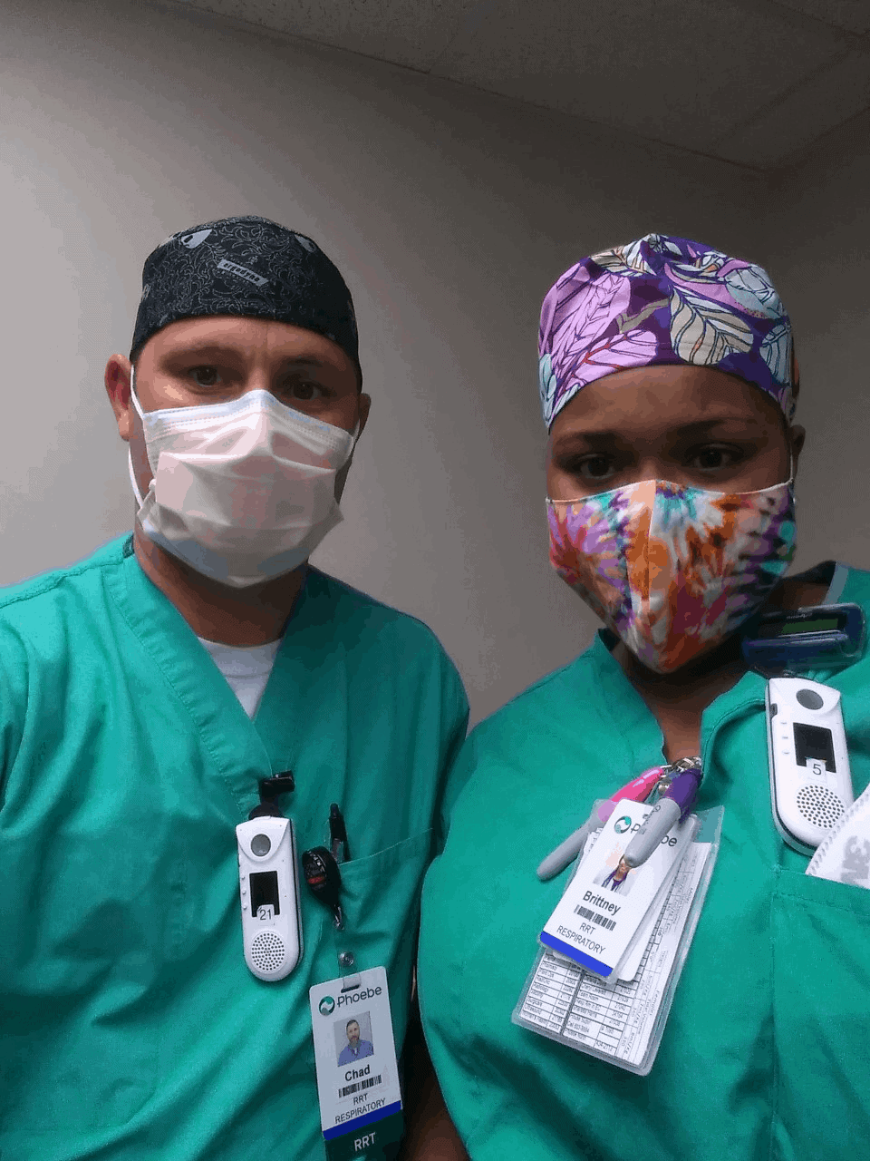 OFTC Respiratory graduates, Chad Keown (L) and Brittney Bryant (R), have been working on the frontlines of the COVID-19 pandemic in Albany, Ga.
