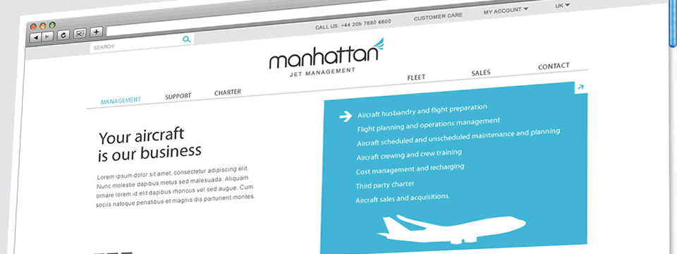 Manhattan Jet Management | Web Design Sheffield