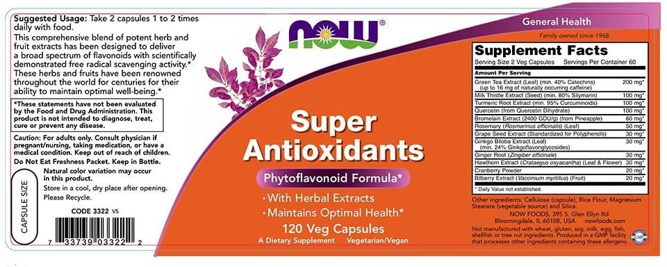 Now Super Antioxidants label