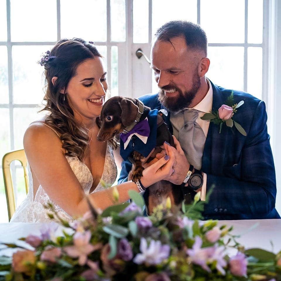 Wedding Ceremony with dog Prested Hall